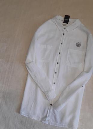 Новая с биркой рубашка белая тонкая длинный рукав 55% лён размер 18-20 george