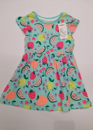 Яркое платье в фрукты pepco на возраст 12-18 месяцев