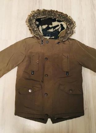 Куртка теплая, зимняя парка для мальчика 3-4 года от next