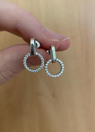 Новые серебряные серьги гвоздики пусеты с фианитами