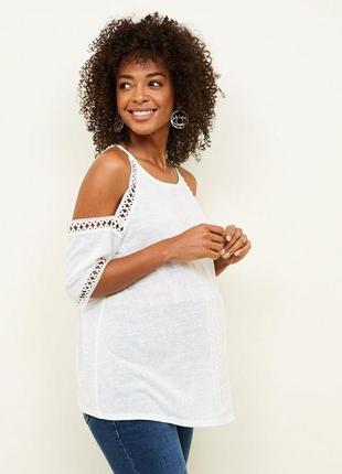 Красивая футболка  с открытыми плечами для беременных new look uk18 состояние новой