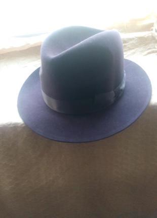 Нулёвая классическая мужская шляпа р 55 коричневая демисезон, фетр
