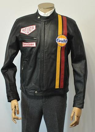 Шкіряна куртка superior leather garments steve mcqueen le mans black leather jacket - l