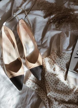 Лодочки кожаные ретро винтаж. в стиле шанель chanel.