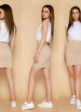 Юбка стрэйч  длина мини стрэйч-джинс белый