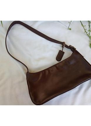 Сумка багет клатч кожа кофейный цвет маленькая тренд 2020 кросс genuine leather оригинал