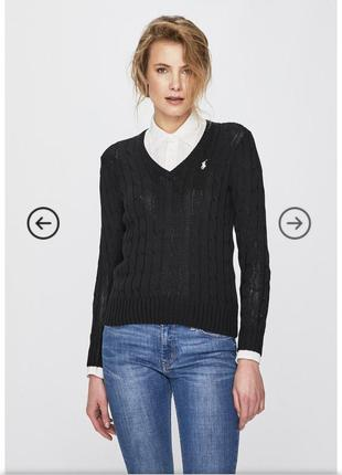 Шерстяной кашемировый джемпер свитер черны polo ralph lauren