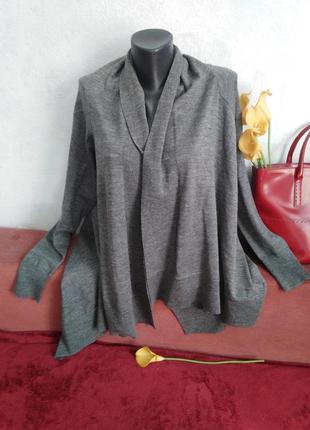 Смесовая шерсть, интересный серый кардиган,демисезон, ассиметричный крой