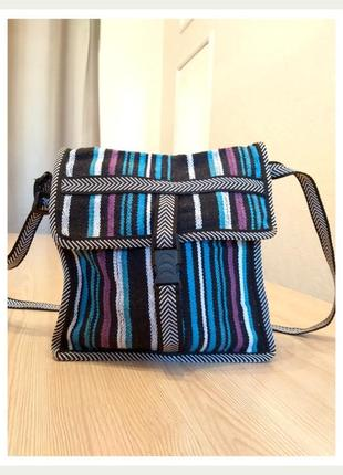 Тканевая сумка через плечо полоска синяя