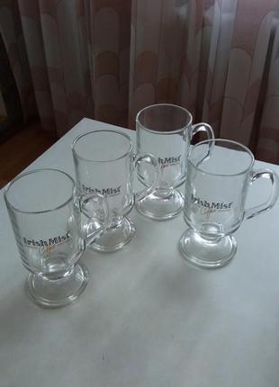 Набір скляних келихів з написами для кави. набор стеклянных бокалов. франция.