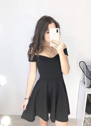 Чёрное мини платье на плечах от missguided