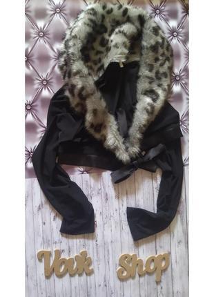 Болеро кофта кофточка с мехом короткая укороченная стильная модная на запах