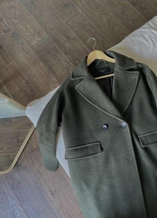 Пальто двубортное оверсайз oversize тёплое шерсть от reserved