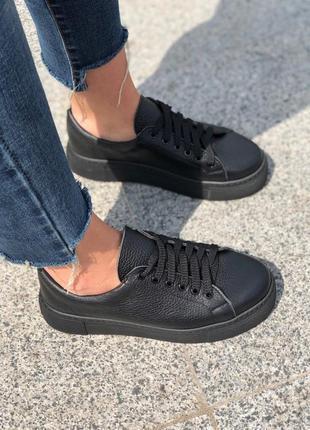 Натуральная кожа! стильные женские кроссовки на платформе кеды кожаные