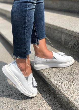 Натуральная кожа! стильные женские слипоны кеды туфли лоферы на платформе