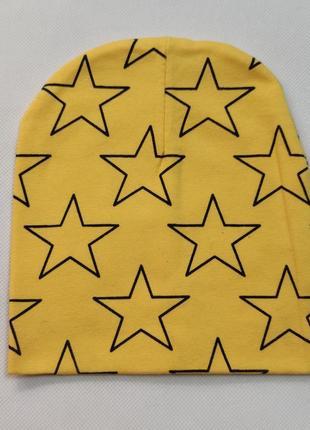 Детская хлопковая шапка  желтая 1-5 лет 5300-9
