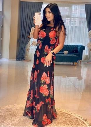 Шикарное вечернее платье в розы турция