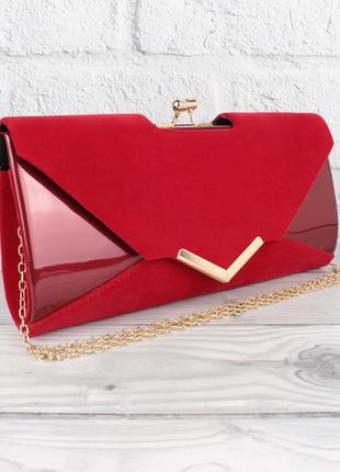 Вечерний клатч красный велюр/лак, сумочка rose heart 002, расцветки