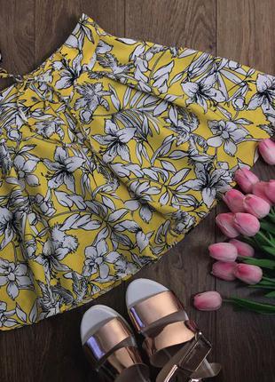 Яркая юбка солнце с гавайским принтом и шнуровкой на поясе    ki1591    lft by zara