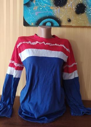 Кофта с кружевом красный реглан в полоску белая с синим