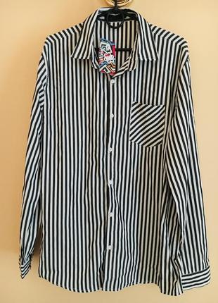 Батал большой размер стильная новая рубашка рубаха в полоску полосатая