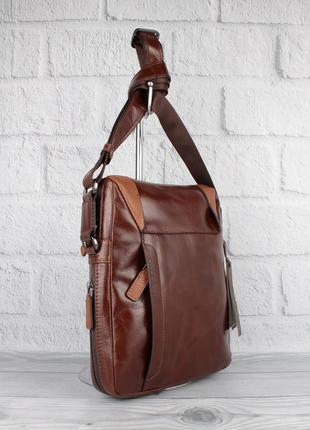 Кожаная мужская сумка the bond 1157-3 коричневая средняя, турция