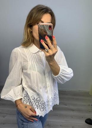 Белая хлопковая батистовая блузка рубашка zara вышивка