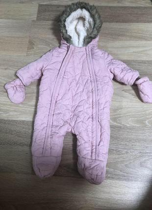 Тёплый деми комбинезон для новорождённой малышки(0-3мес)