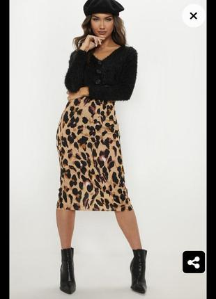 Шикарная леопардовая юбка миди по фигуре с разрезом спідниця леопардовий принт