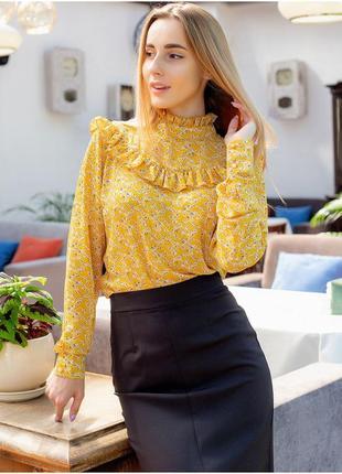 Блуза с рюшами, цветочный принт