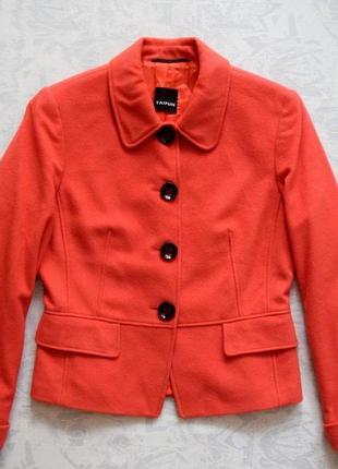 Теплый пиджак из кашемира, кашемировый пиджак коралловый, женский пиджак кардиган