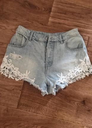 Суперские джинсовые шортики с высокой посадкой