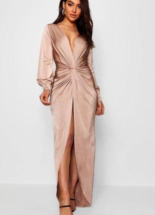 Шикарное шелковистое  пудровое 👗 платье для торжественных мероприятий/вечернее