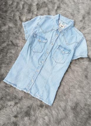 Джинсовая рубашка кофточка блуза