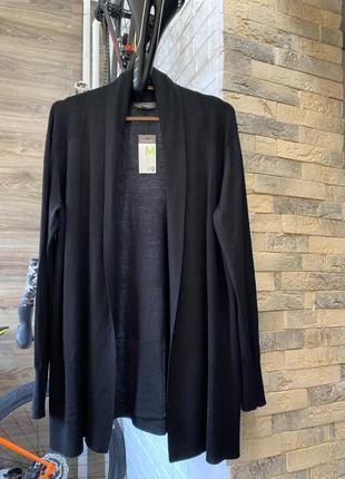 Кардиган свитер накидка чёрный базовый без застёжки тонкий трикотаж primark