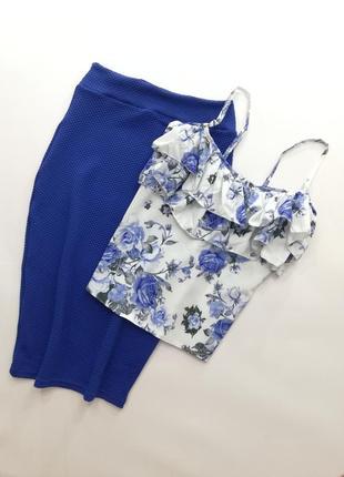 Костюм юбка миди +майка софт, женский костюм