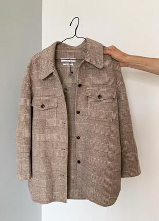 Коричневая шерстяная куртка / пальто в клетку mango (овершот / плотная рубашка)