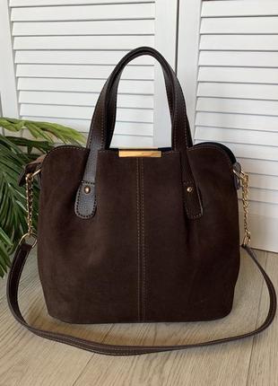 Замшевая коричневая женская сумка,среднего размера,короткая ручка,