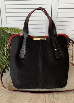 Женская замшевая сумка,вместительная,чёрная с красной серединкой,  средний размер