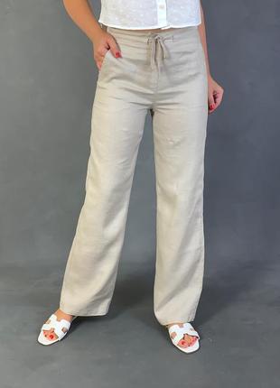 Льняные бежевые брюки на резинке