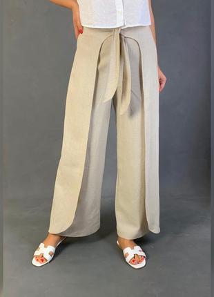 Льняные брюки прямого   кроя лён azul limao