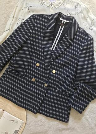 Стильный двубортный пиджак/жакет/блейзер в полоску на хлопковой подкладке
