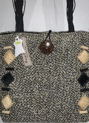 Большая плетённая фирменная летняя  сумочка- шопер  на плечо my.