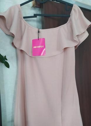 Красивое вечернее длинное платье с открытыми плечами  pink boutique