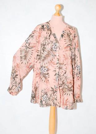 Батал 22  блуза с  длинным рукавом рукавом нюдовая   рубашка