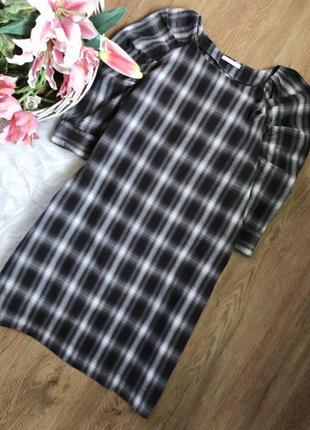 Платье миди в клетку с объемными рукавами, хлопок, xs - s