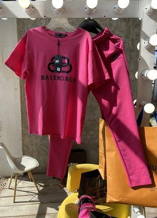 Розовый яркий крутой хлопковый спортивный костюм balenciaga