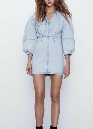 Zara джинсовое мини платье м