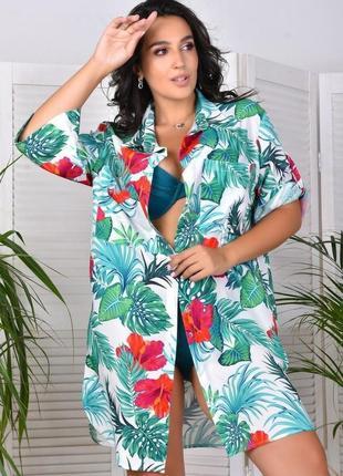Пляжная рубашка, туника, парео, накидка под купальник. размеры 42-54