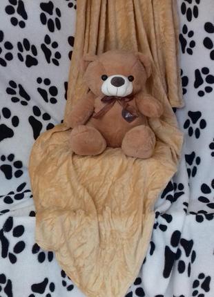 Плед с игрушкой  медведь
